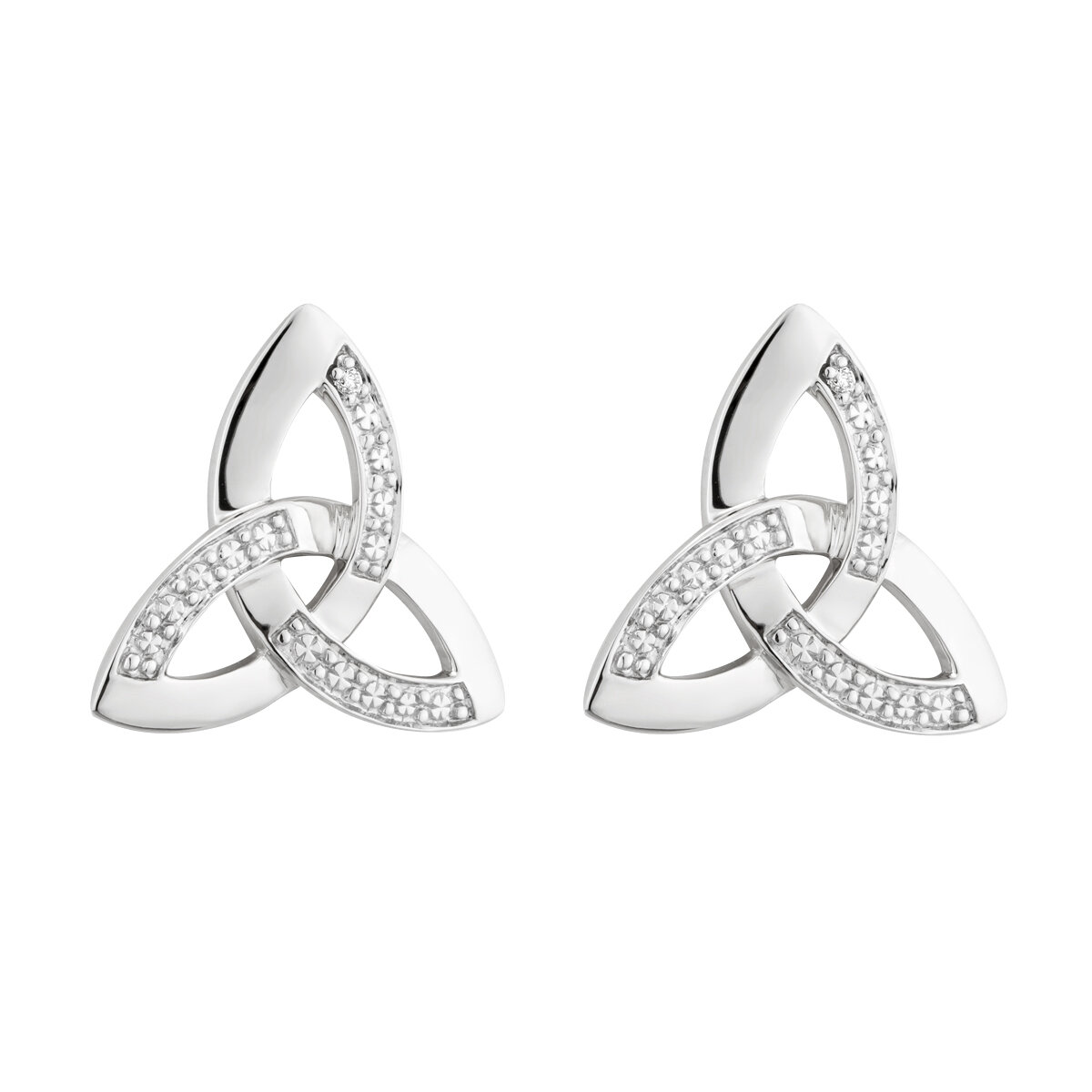 14K white gold diamond trinity knot stud earrings s33102 from Solvar