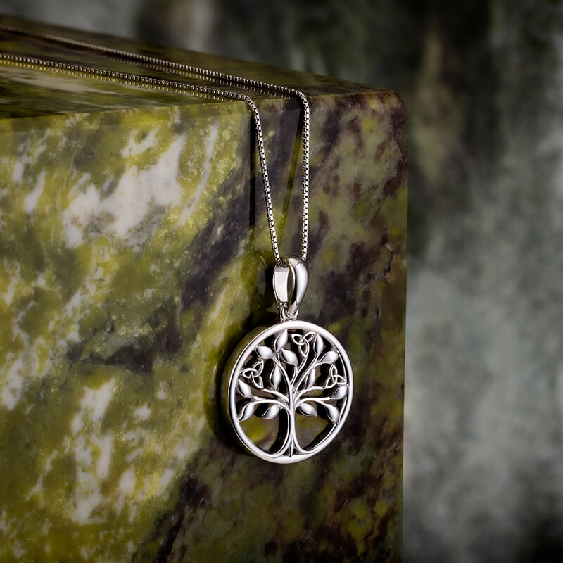 styled image of Solvar connemara marble tree of life necklace s46669 on the marble background