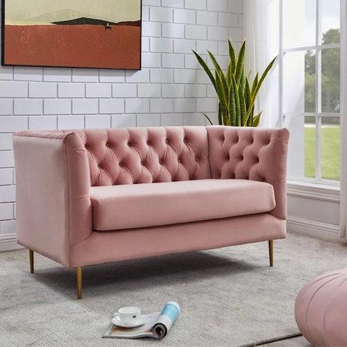 Belle - Velvet Love Seat in room setting
