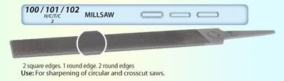 Millsaw File 1 Round Edge 250mm/10inch 2nd Cut