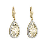 10K DIAMOND OVAL CELTIC DROP EARRINGS