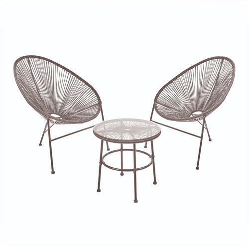 String Egg Chair Bistro Set 3 Piece -Grey