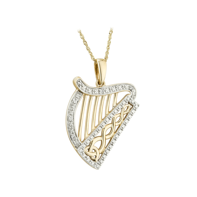 14KYW DIAMOND HARP PENDANT(BOXED)