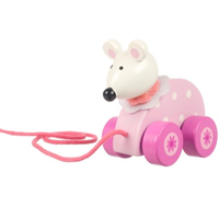 wooden pull along toy - pink mouse