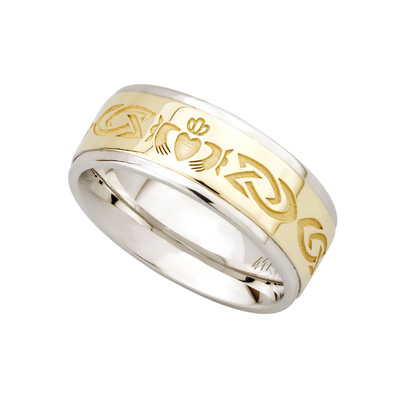 SILVER & 10K GOLD CLADDAGH GENTS WEDDING BAND