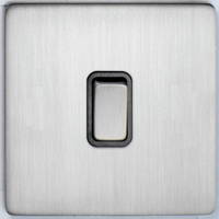 DETA Screwless 1 Gang Switch Satin Chrome Black Insert | LV0201.0424