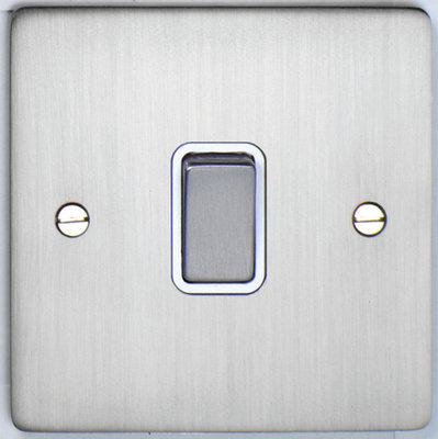 DETA Flat Plate 1gang switch Satin Chrome with White Insert | LV0201.0180