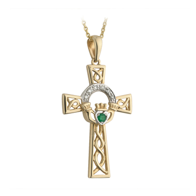 14K DIAMOND & EMERALD CLADDAGH CROSS PENDANT