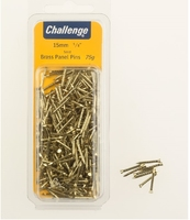 Challenge Brass Panel Pins 15mm Clam Pk 75g