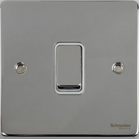 Schneider Ultimate Low Profile 1gang switch Polished Chrome with White Insert | LV0701.0037