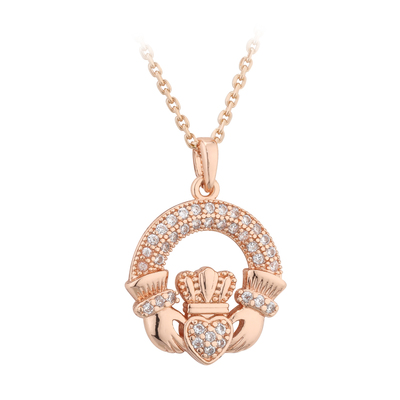 ROSE GOLD CRYSTAL CLADDAGH PENDANT