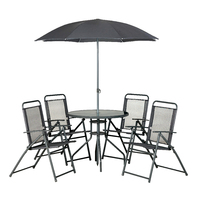Palermo 6 Piece Set Grey (4 Chairs,Parasol &Table)