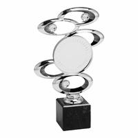 23cm Silver Spiral Blaze Trophy on Marble