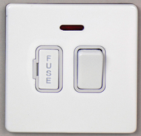 DETA Screwless Fused Spur Switch with Neon White Metal White Insert | LV0201.0034