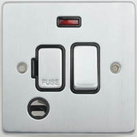 Schneider Ultimate Low Profile Fused Spur with Neon & Flex outlet Brushed Chrome with Black Insert  | LV0701.0225
