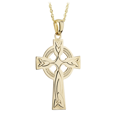 14K CELTIC CROSS HAND ENG. 20MM