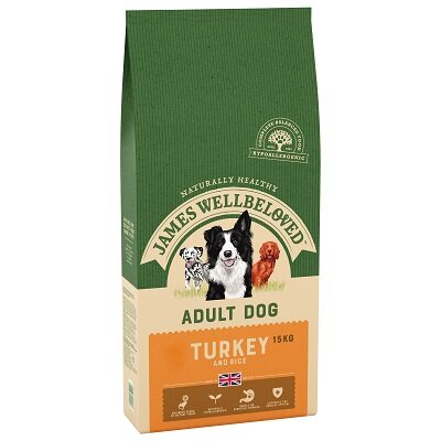 James Wellbeloved Turkey & Rice Adult Dog Food 15kg