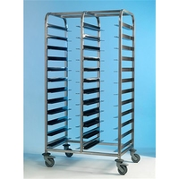 Tray Clearing Trolley Stainless Steel 2x12 No Panels
