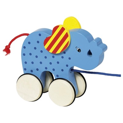 Wooden pull along toy elephant for age 1+