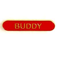 Buddy - Bar Shaped School Badge (Red)