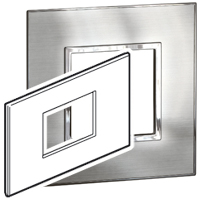 Arteor (British Standard) Plate 3 Module Square Stainless Stainless Steel   LV0501.0200