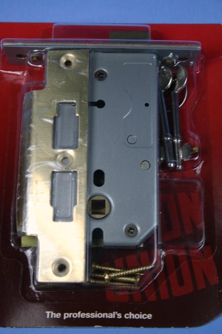 Y2077PL125 Union 3-Lever Long Mortice Lock Brass 125mm