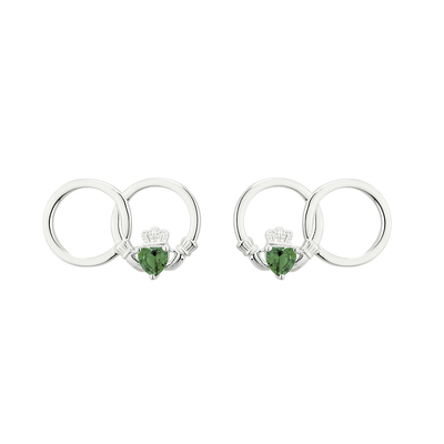 CLADDAGH GREEN CRYSTAL CIRCLE STUD EARRINGS