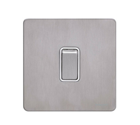 Schneider Ultimate Screwless 1g 2way Switch Stainless Steel white|LV0701.0898