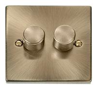 Deco Antique Brass 2G 2W 400W Dimmer