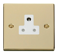 Click Deco Victorian Polished Brass with white Insert 5Amp Socket | LV0101.0158