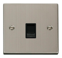 Click Deco Victorian Stainless Steel with Black Insert Single RJ45 Socket | LV0101.1846