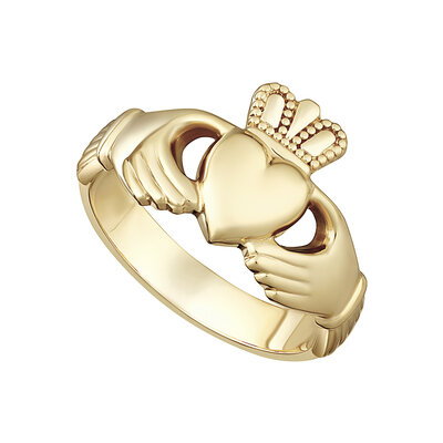 nine karat Gold Heavy Gents Claddagh Ring S2268 from Solvar Jewellers, Ireland
