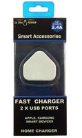 ULTRA POWER FAST CHARGER PLUG TOP 2 X USB PORTS