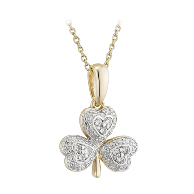 14KW DIAMOND SHAMROCK PENDANT(BOXED)