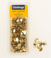Challenge Brass Plated Solid Head Drawing Pins 100s Clam Pack