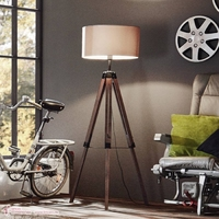 LANTADA WOOD FLOOR LAMP WITH TAUPE SHADE  | LV1902.0015