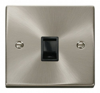 Click Litehouse DECO 1G RJ11 Outlet Black Insert Satin Chrome