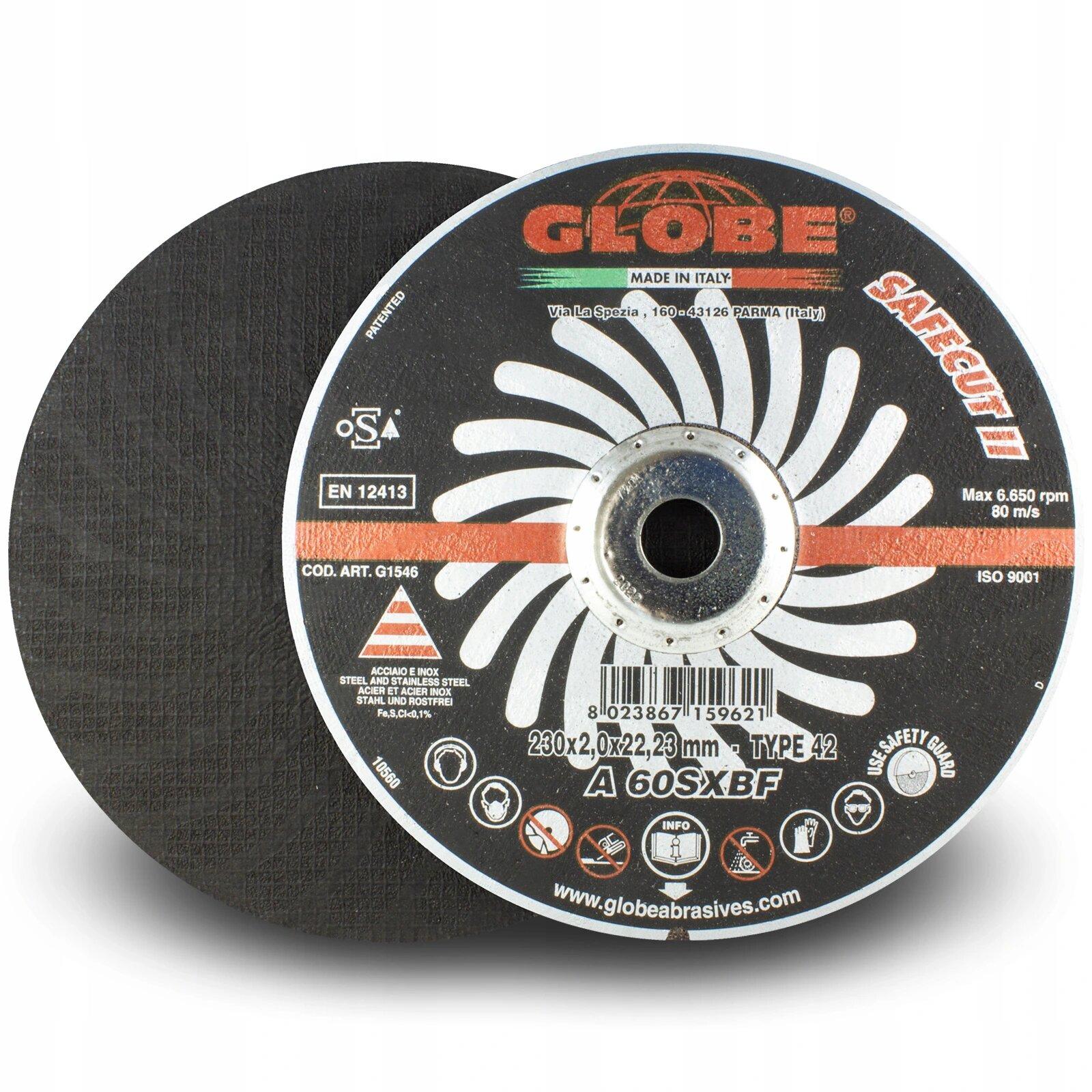 Globe 230x2x22 SafeCut Cutting Disc Steel (order qty x50)