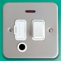 DETA METAL SURFACE SWITCH SPUR COMPLETE WITH OUTLET AND NEON INDICATOR