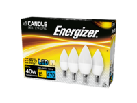 ENERGIZER 4 PACK LED 6W (40W) 470 LUMEN SES CANDLE LAMP WARM WHITE