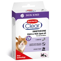 Bob Martin Flea-Clear SKIN-KIND Spot-On Small CAT Flea Drops 1 Tube x 1