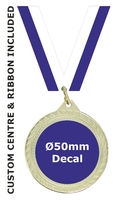 70mm Medal / CUSTOM Centre & BLUE Ribbon (G)