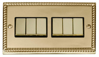 Click Deco Georgian Cast Brass with Black Inserts 6 Gang 2 Way 'Ingot' Switch | LV0101.0033