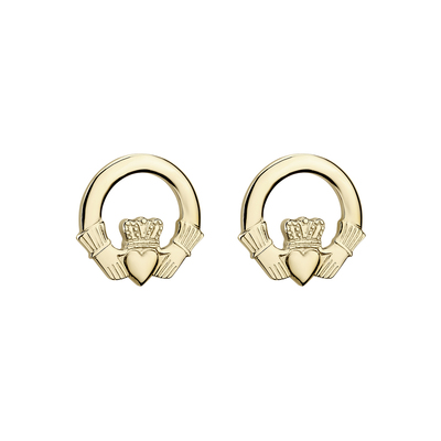 14K SMALL CLADDAGH STUD EARRINGS