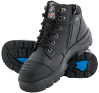Steel Blue Parkes Lace Up/Zip Safety Boot with Bump Cap Black