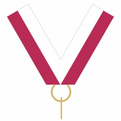 10mm Medal Ribbon with Clip (Maroon & White)