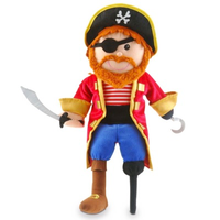 Pirate hand puppet - he has an eye patch, a hook for a hand, one wooden leg, and a sword