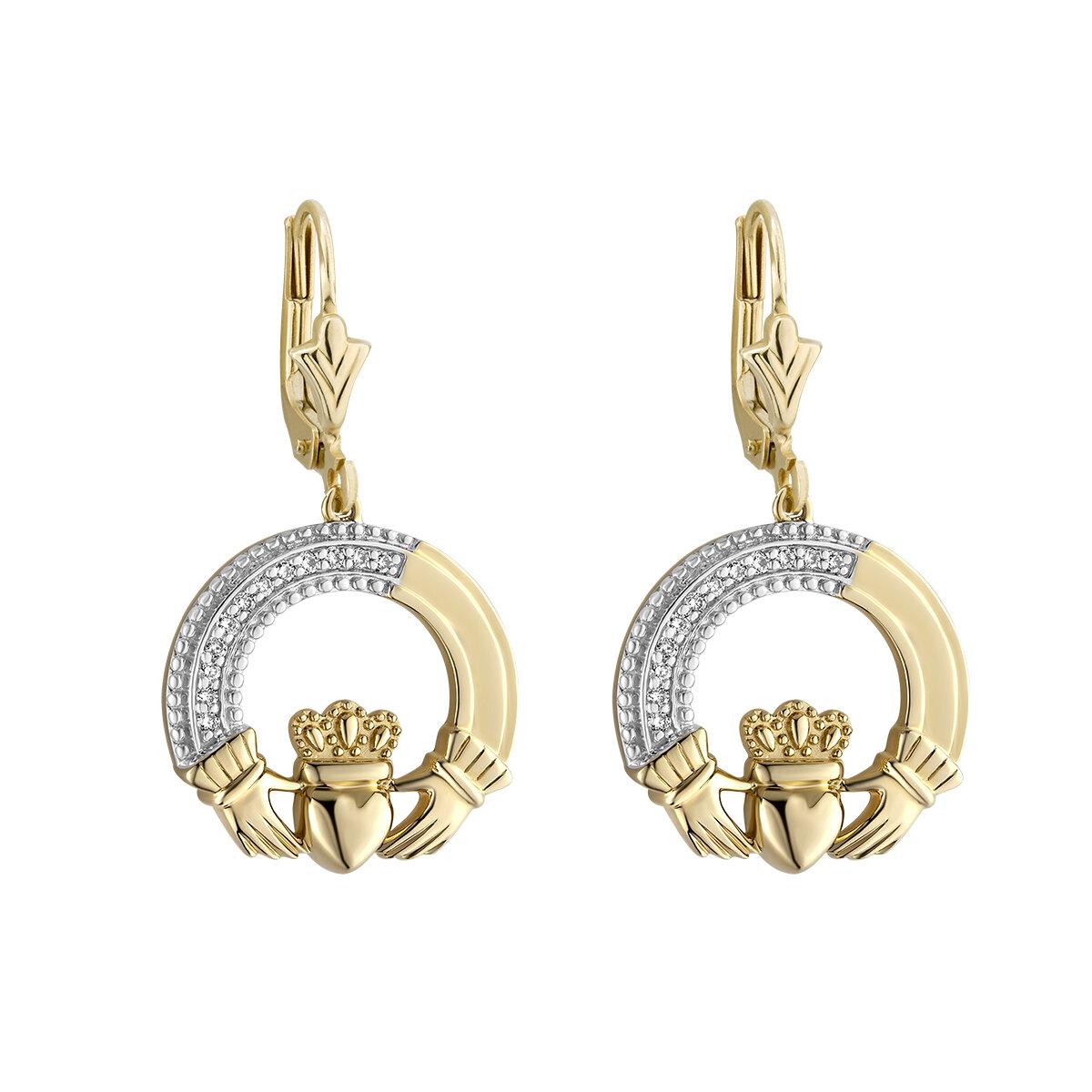 14K Gold Diamond Claddagh Drop Earrings s34100 From Solvar