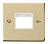 Click Deco Victorian Polished Brass with White 1 Gang Plate Double Aperture | LV0101.1820