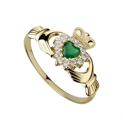9CT CZ/GREEN AGATE CLADDAGH